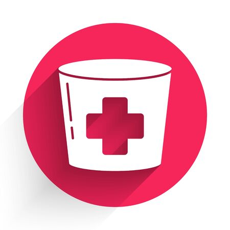 White Nurse hat with cross icon isolated with long shadow. Medical nurse cap sign. Red circle button. Vector Illustration