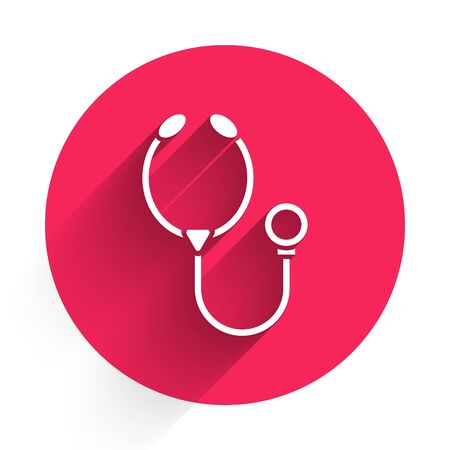White Stethoscope medical instrument icon isolated with long shadow. Red circle button. Vector Illustration Ilustracja