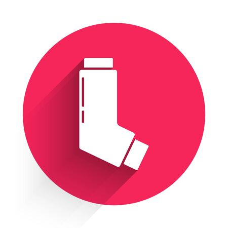 White Inhaler icon isolated with long shadow. Breather for cough relief, inhalation, allergic patient. Medical allergy asthma inhaler spray. Red circle button. Vector Illustration Ilustração