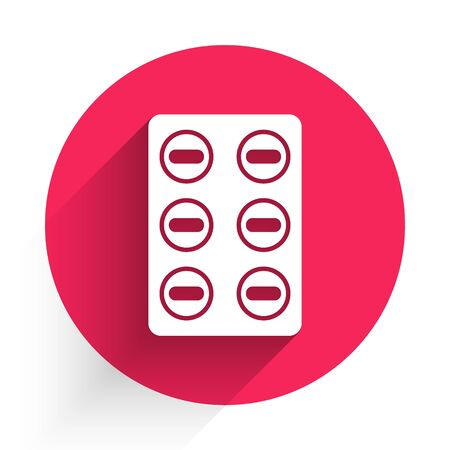 White Pills in blister pack icon isolated with long shadow. Medical drug package for tablet, vitamin, antibiotic, aspirin. Red circle button. Vector Illustration