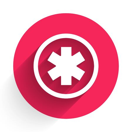 White Medical symbol of the Emergency - Star of Life icon isolated with long shadow. Red circle button. Vector Illustration