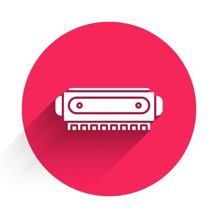White Harmonica icon isolated with long shadow. Musical instrument. Red circle button. Vector Illustration