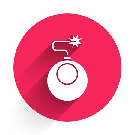 White Bomb ready to explode icon isolated with long shadow. Red circle button. Vector Illustration