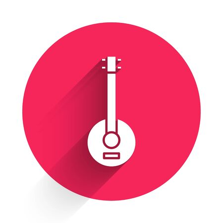 White Banjo icon isolated with long shadow. Musical instrument. Red circle button. Vector Illustration