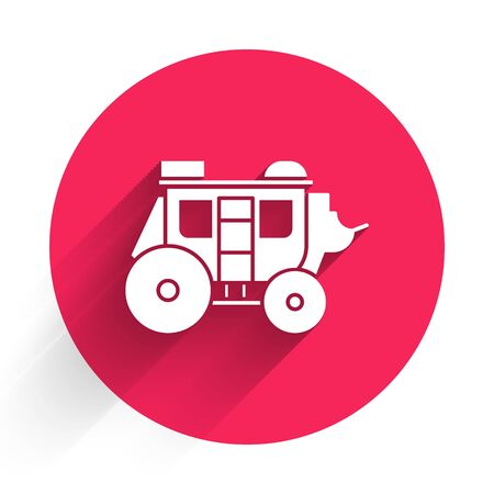 White Western stagecoach icon isolated with long shadow. Red circle button. Vector Illustration Standard-Bild - 140078574