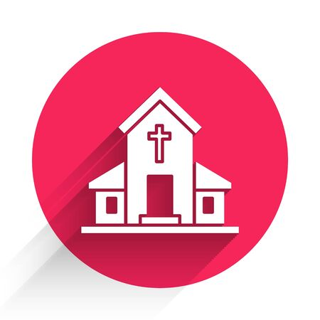White Church building icon isolated with long shadow. Christian Church. Religion of church. Red circle button. Vector Illustration Ilustrace