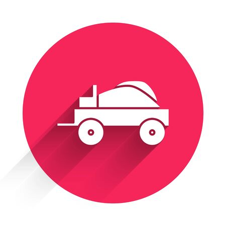 White Wild west covered wagon icon isolated with long shadow. Red circle button. Vector Illustration Standard-Bild - 140078594