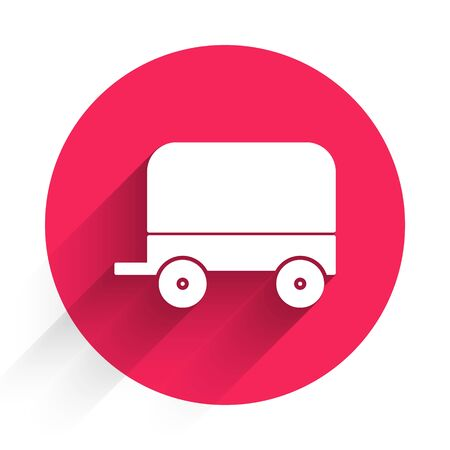 White Wild west covered wagon icon isolated with long shadow. Red circle button. Vector Illustration Vecteurs