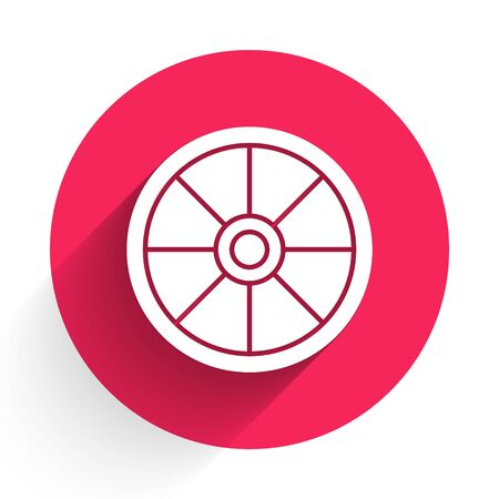 White Old wooden wheel icon isolated with long shadow. Red circle button. Vector Illustration Standard-Bild - 140078742