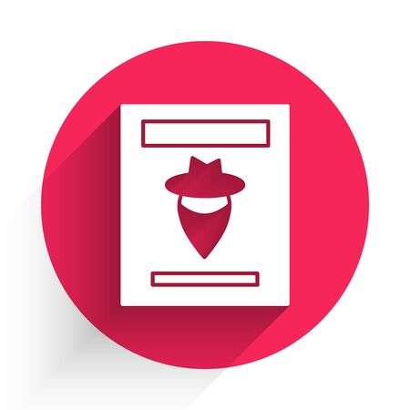 White Wanted western poster icon isolated with long shadow. Reward money. Dead or alive crime outlaw. Red circle button. Vector Illustration