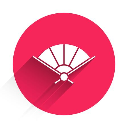 White Traditional paper chinese or japanese folding fan icon isolated with long shadow. Red circle button. Vector Illustration Stock Illustratie