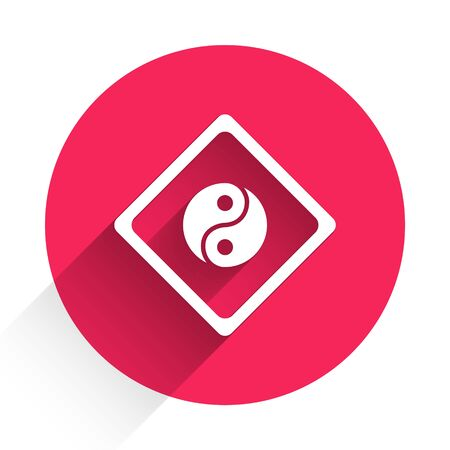 White Yin Yang symbol of harmony and balance icon isolated with long shadow. Red circle button. Vector Illustration