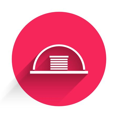 White Hangar icon isolated with long shadow. Red circle button. Vector Illustration