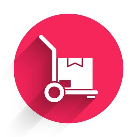 White Hand truck and boxes icon isolated with long shadow. Dolly symbol. Red circle button. Vector Illustration