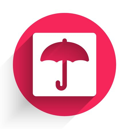 White Umbrella icon isolated with long shadow. Waterproof icon. Protection, safety, security concept. Water resistant symbol. Red circle button. Vector Illustration
