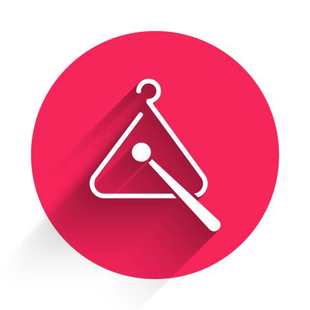 White Triangle musical instrument icon isolated with long shadow. Red circle button. Vector Illustration