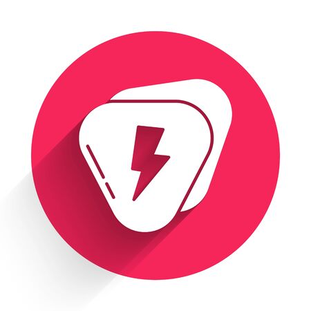 White Guitar pick icon isolated with long shadow. Musical instrument. Red circle button. Vector Illustration