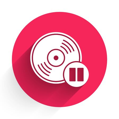 White Vinyl disk icon isolated with long shadow. Red circle button. Vector Illustration