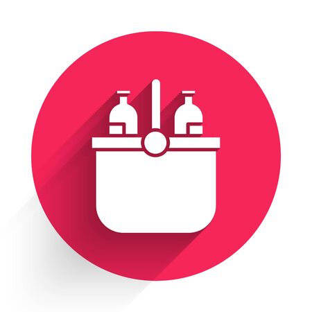 White Cooler bag and water icon isolated with long shadow. Portable freezer bag. Handheld refrigerator. Red circle button. Vector Illustration