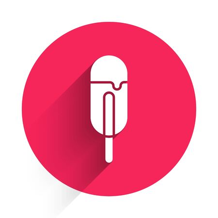 White Ice cream icon isolated with long shadow. Sweet symbol. Red circle button. Vector Illustration
