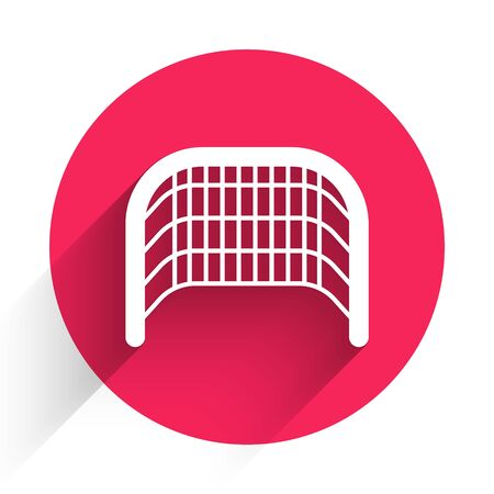 White Ice hockey goal with net for goalkeeper icon isolated with long shadow. Red circle button. Vector Illustration