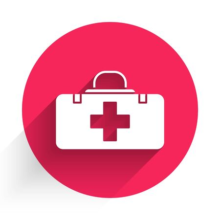 White First aid kit icon isolated with long shadow. Medical box with cross. Medical equipment for emergency. Healthcare concept. Red circle button. Vector Illustration