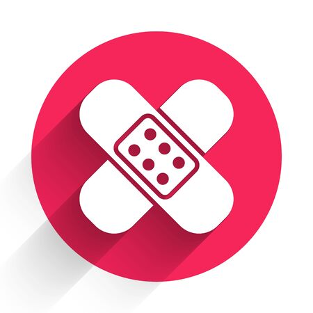 White Crossed bandage plaster icon isolated with long shadow. Medical plaster, adhesive bandage, flexible fabric bandage. Red circle button. Vector Illustration