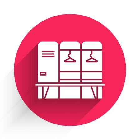 White Locker or changing room for hockey, football, basketball team or workers icon isolated with long shadow. Red circle button. Vector Illustration Foto de archivo - 140079807