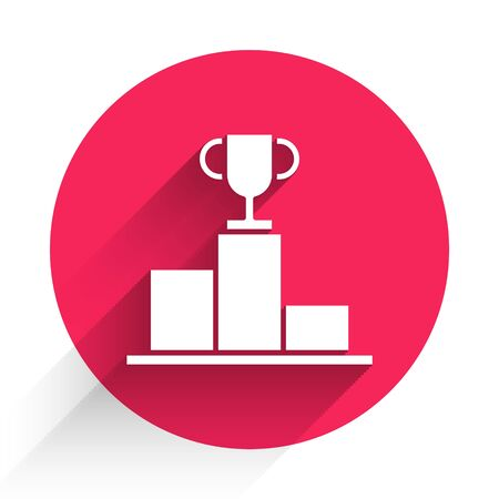 White Hockey over sports winner podium icon isolated with long shadow. Red circle button. Vector Illustration
