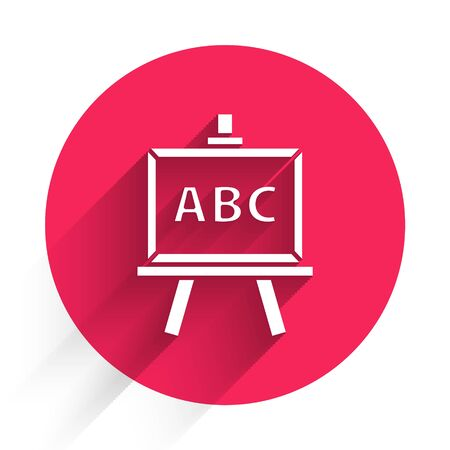 White Chalkboard icon isolated with long shadow. School Blackboard sign. Red circle button. Vector Illustration