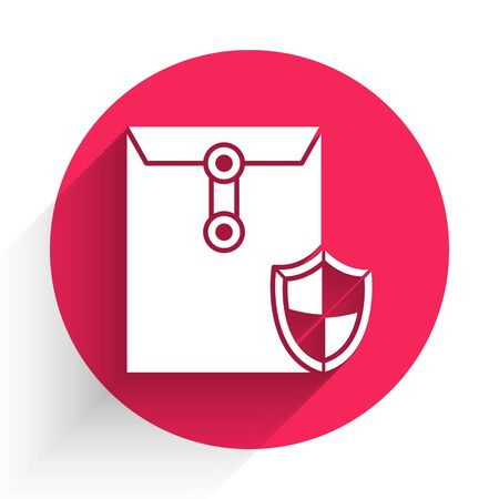 White Envelope with shield icon isolated with long shadow. Insurance concept. Security, safety, protection, protect concept. Red circle button. Vector Illustration