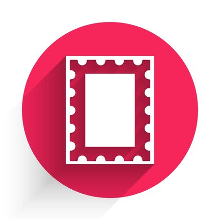White Postal stamp icon isolated with long shadow. Red circle button. Vector Illustration