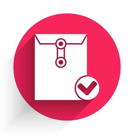 White Envelope and check mark icon isolated with long shadow. Successful e-mail delivery, email delivery confirmation. Red circle button. Vector Illustration