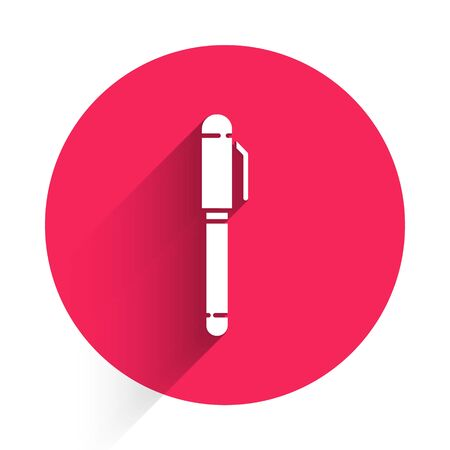 White Pen icon isolated with long shadow. Red circle button. Vector Illustration Stock Illustratie