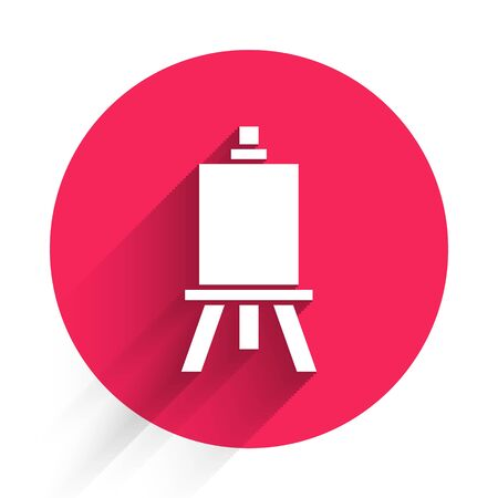 White Wood easel or painting art boards icon isolated with long shadow. Red circle button. Vector Illustration