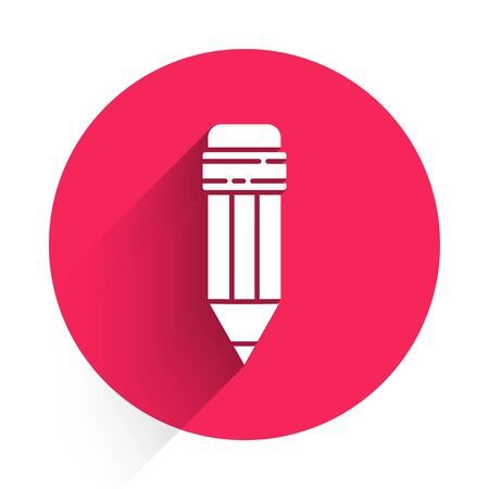 White Pencil with eraser icon isolated with long shadow. Drawing and educational tools. School office symbol. Red circle button. Vector Illustration 일러스트