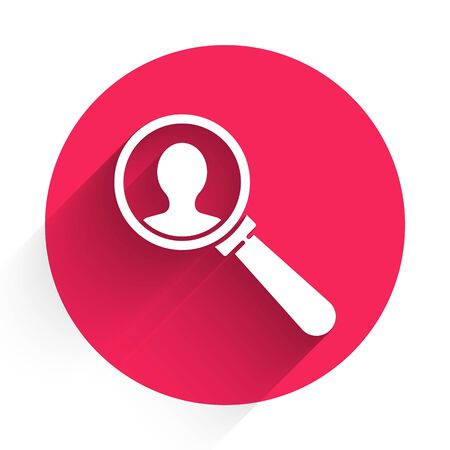 White Magnifying glass for search a people icon isolated with long shadow. Recruitment or selection. Search for employees and job. Red circle button. Vector Illustration