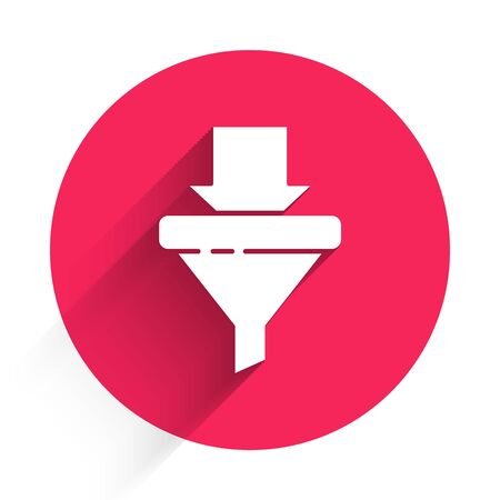 White Sales funnel with arrows for marketing and startup business icon isolated with long shadow. Infographic template. Red circle button. Vector Illustration
