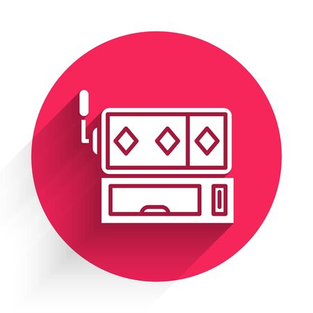 White Slot machine icon isolated with long shadow. Red circle button. Vector Illustration Stock Illustratie