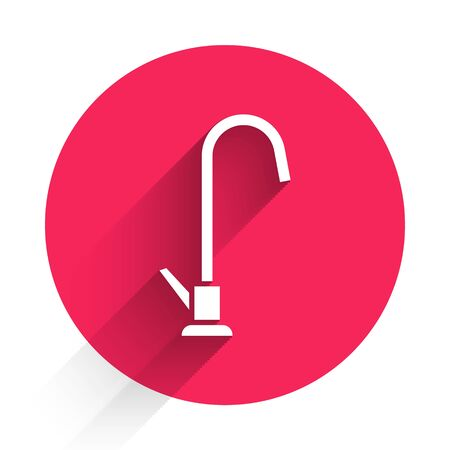 White Water tap icon isolated with long shadow. Red circle button. Vector Illustration