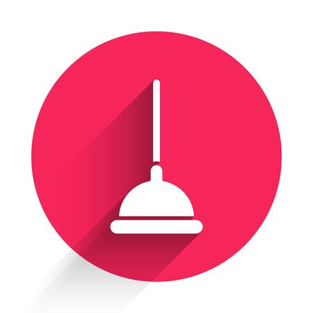 White Rubber plunger with wooden handle for pipe cleaning icon isolated with long shadow. Toilet plunger. Red circle button. Vector Illustration
