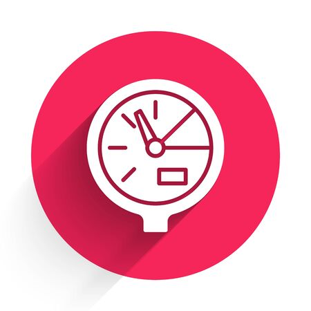White Water meter icon isolated with long shadow. Red circle button. Vector Illustration Illusztráció