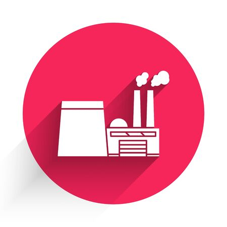 White Oil and gas industrial factory building icon isolated with long shadow. Red circle button. Vector Illustration Stock Illustratie