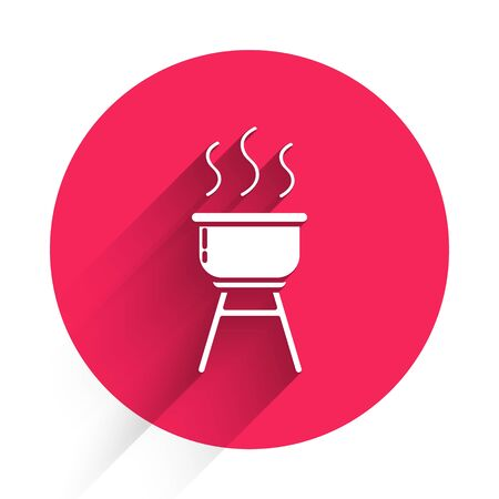 White Barbecue grill icon isolated with long shadow. BBQ grill party. Red circle button. Vector Illustration
