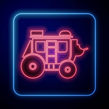 Glowing neon Western stagecoach icon isolated on blue background. Vector Illustration Vecteurs