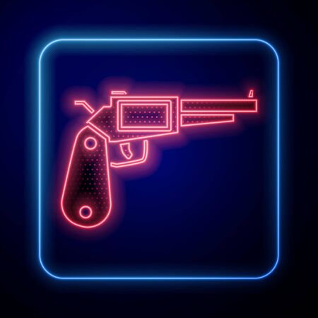 Glowing neon Revolver gun icon isolated on blue background. Vector Illustration
