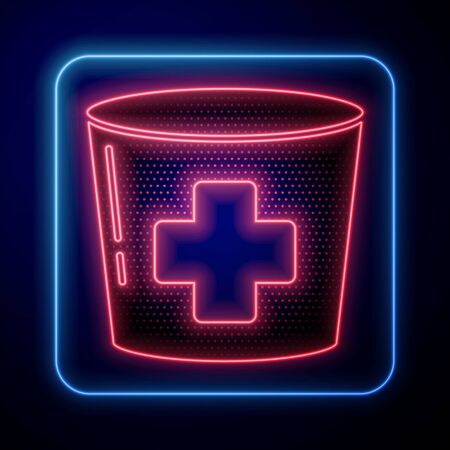 Glowing neon Nurse hat with cross icon isolated on blue background. Medical nurse cap sign.  Vector Illustration Иллюстрация