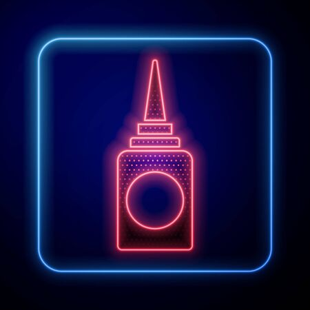 Glowing neon Bottle nasal spray icon isolated on blue background. Vector Illustration