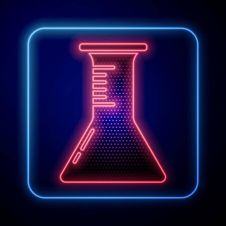 Glowing neon Test tube and flask icon isolated on blue background. Chemical laboratory test. Laboratory glassware. Vector Illustration