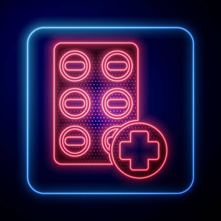 Glowing neon Pills in blister pack icon isolated on blue background. Medical drug package for tablet, vitamin, antibiotic, aspirin. Vector Illustration Иллюстрация